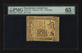 Colonial Notes:Pennsylvania, Pennsylvania October 1, 1773 50s PMG Gem Uncirculated 65 EPQ.. ...
