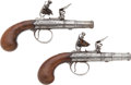 Military & Patriotic:Revolutionary War, Pair of English F/L Screw Barrel Pocket Pistols C. 1760.... (Total:2 Items)