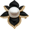 Estate Jewelry:Brooches - Pins, South Sea Cultured Pearl, Diamond, Black Onyx, Gold Pendant-Brooch. ...