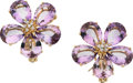 Estate Jewelry:Earrings, Amethyst, Diamond, Gold Earrings. ... (Total: 2 Pieces)