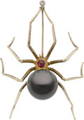 Estate Jewelry:Brooches - Pins, Black South Sea Cultured Pearl, Ruby, Diamond, Gold Brooch. ...