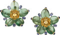 Estate Jewelry:Earrings, Fluorite, Sapphire, Gold Earrings. ... (Total: 2 Pieces)