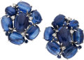 Estate Jewelry:Earrings, Kyanite, Diamond, Sapphire, White Gold Earrings. ... (Total: 2Pieces)