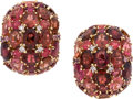 Estate Jewelry:Earrings, Tourmaline, Diamond, Gold Earrings. ... (Total: 2 Pieces)