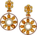 Estate Jewelry:Earrings, Citrine, Sapphire, Diamond, Gold Earrings. ... (Total: 2 Pieces)