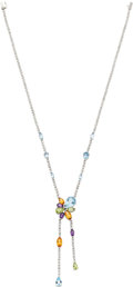 Estate Jewelry:Necklaces, Multi-Stone, Diamond, White Gold Necklace, Naina. ...