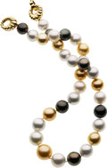 Estate Jewelry:Pearls, Multi-Color South Sea Cultured Pearl, Gold Necklace. ...