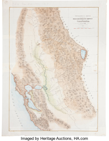 Map Of California During Gold Rush.California Gold Rush A Large Hand Colored 1848 Dated Map