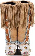 American Indian Art:Beadwork and Quillwork, A PAIR OF CHEYENNE BEADED AND FRINGED HIDE BOOT MOCCASINS. c.1920... (Total: 2 Items)