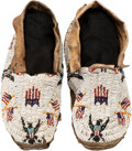 American Indian Art:Beadwork and Quillwork, A PAIR OF CHEYENNE PICTORIAL BEADED HIDE MOCCASINS. c. 1900...(Total: 2 Items)