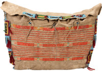 A SIOUX QUILLED AND BEADED HIDE TIPI BAG c. 1880