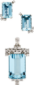 Estate Jewelry:Suites, Retro Aquamarine, Diamond, Platinum Jewelry Suite. ... (Total: 2Items)