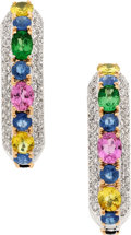 Estate Jewelry:Earrings, Sapphire, Tsavorite Garnet, Diamond, White Gold Earrings, Eli Frei....
