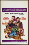 "Movie Posters:Drama, Becket (Paramount, 1964). Window Card (14"" X 22"") Review Style. Drama. Starring Richard Burton, Peter O'Toole, John Gielgud ..."