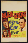"Movie Posters:Thriller, Man Hunt (20th Century Fox, 1941). Window Card (14"" X 22""). Thriller. Starring Walter Pidgeon, Joan Bennett, Roddy McDowall,..."