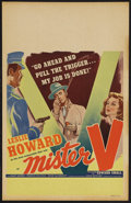"Movie Posters:Adventure, Mister V (United Artists, 1942). Window Card (14"" X 22""). Spy/War.Starring Leslie Howard, Mary Morris, Francis Sullivan, an..."