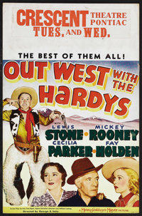 "Out West with the Hardys (MGM, 1938). Window Card (14"" X 22""). Comedy. Starring Mickey Rooney, Lewis Stone, Ce..."