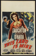 "Movie Posters:War, This Land Is Mine (RKO, 1943). Window Card (14"" X 22""). War.Starring Charles Laughton, Maureen O'Hara, George Sanders and W..."
