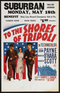 "Movie Posters:War, To the Shores of Tripoli (20th Century Fox, 1942). Window Card (14""X 22""). War Drama. Starring John Payne, Maureen O'Hara a..."