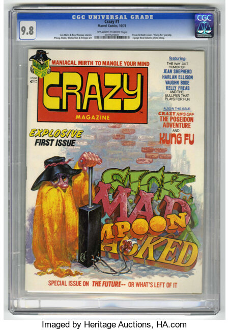 Crazy Magazine #1 (Marvel, 1973) CGC NM/MT 9.8. Kelly Freas and Vaughn Bode cover. Harlan Ellison story. Bode, Mike Ploog, B...
