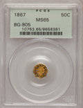 California Fractional Gold, 1867 50C Liberty Octagonal 50 Cents, BG-905, Low R.5, MS65 PCGS.PCGS Population (8/6). NGC Census: (2/3). (#10763)...