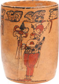 Antiques:Antiquities, Maya Vessel Painted with Guards...