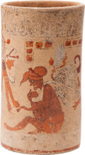 Antiques:Antiquities, Maya Vessel with Bundle Scene...