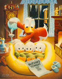 Carl Barks Blizzard Tonight Oil Painting Original Art (1973)