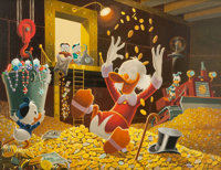 Carl Barks A Binful of Fun Oil Painting Original Art (1974)