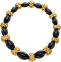 Estate Jewelry:Necklaces, Black Onyx, Gold Necklace, Hammerman Brothers. ...