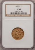 Liberty Half Eagles: , 1896-S $5 XF45 NGC. PCGS Population (43/160). Mintage: 155,400.Numismedia Wsl. Price for problem free N...