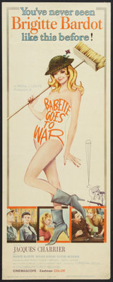 """Babette Goes to War (Columbia, 1960). Insert (14"""" X 36""""). Comedy"""