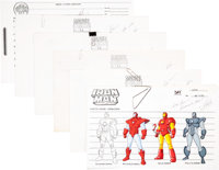 Marvel Action Hour Iron Man and Fantastic Four Model Sheet Group Signed by Stan Lee (New World International, 1994)...