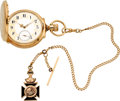 Timepieces:Pocket (pre 1900) , Elgin Gold Box Hinge Convertible With Fancy Dial, Chain & Fob, circa 1890. ...