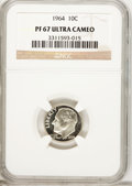 Proof Roosevelt Dimes: , 1964 10C PR67 Ultra Cameo NGC. PCGS Population (168/620).Numismedia Wsl. Price for problem free NGC/PC...