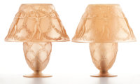FROM THE ESTATE OF A PROMINENT LALIQUE COLLECTOR  R. LALIQUE Rare pair of 'Six Danseuses' table lamps with s
