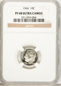 Proof Roosevelt Dimes: , 1964 10C PR68 Ultra Cameo NGC. PCGS Population (349/271).Numismedia Wsl. Price for problem free NGC/PC...