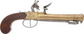 Military & Patriotic:Revolutionary War, 18th Century Brass Barrel British Blunderbuss Pistol with SnapBayonet....