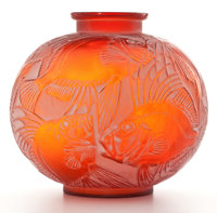 FROM THE ESTATE OF A PROMINENT LALIQUE COLLECTOR  R. LALIQUE 'Poissons' vase in cased red glass with white p
