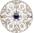 Estate Jewelry:Brooches - Pins, Edwardian Sapphire, Diamond, Platinum, Gold Pendant-Brooch. ...