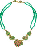 Estate Jewelry:Necklaces, Emerald, Spinel, Colored Diamond, Gold Necklace, Donna Pizarro ....