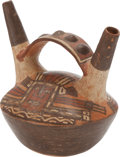 Antiques:Antiquities, Double Spouted Vessel with Painted Faces...