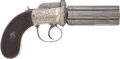 Military & Patriotic:Pre-Civil War, Exceptional Quality German Silver Frame British Percussion Pepperbox C. 1845....