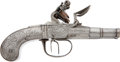 Military & Patriotic:Revolutionary War, 18th Century All Steel British F/L Dbl Bbl Pocket Pistol....