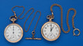 Timepieces:Pocket (post 1900), Two - Elgin 16 Size With Chains. ... (Total: 2 Items)