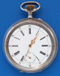 Timepieces:Pocket (post 1900), Swiss 3 Inch Over Size .800 Silver Pocket Watch. ...