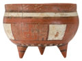 Antiques:Antiquities, Red and White Incised Tripod Bowl...