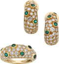 Estate Jewelry:Suites, Diamond, Emerald, Gold Jewelry Suite. ... (Total: 3 Items)