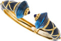 Estate Jewelry:Bracelets, Blue Topaz, Diamond, Lapis Lazuli, Enamel, Gold Bracelet. ...