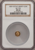 California Fractional Gold: , 1859 25C Liberty Octagonal 25 Cents, BG-702, R.3, MS66 NGC. NGCCensus: (19/2). PCGS Population (1/0). (#10529)...